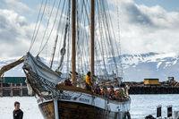 Whale-watching boat enters Husavik harbor on Iceland