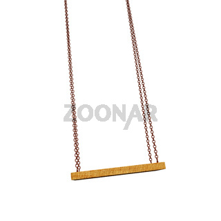 Empty wooden swing on the chain