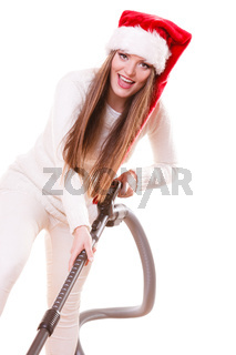 Girl santa claus hat with vacuum cleaner