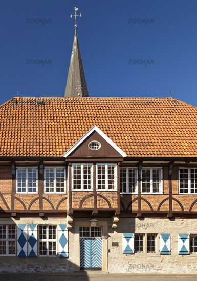 old town hall and steeple of St. Gertrud, Horstmar, Muensterland, North Rhine-Westphalia, Germany