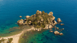 Sicily: Aerial view of Isola Bella's island