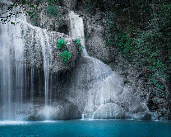 Jangle landscape with Erawan waterfall. Thailand