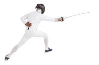 Man wearing fencing suit practicing with sword