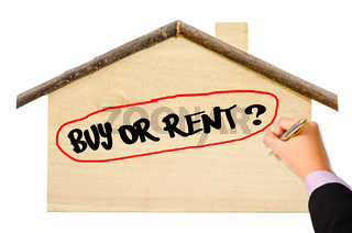 Man Hand writing Buy or Rent?