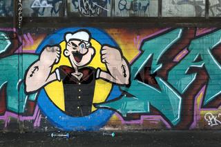 Mit Graffiti bemalte Wand, Schleswig Holstein, Deutschland