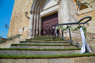 Decorated stairs to church on celebration