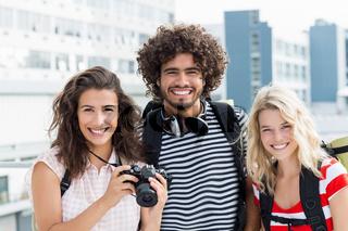Portrait of friends on terrace