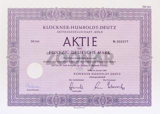 Aktie der Firma Löckner-Humboldt-Deutz