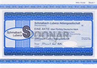 Aktie der Firma Schmalbach-Lubeca