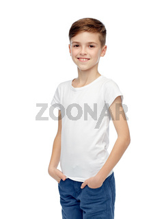 happy boy in white t-shirt and jeans