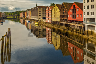 Wharves on the Nidelva River in Trondheim Norway