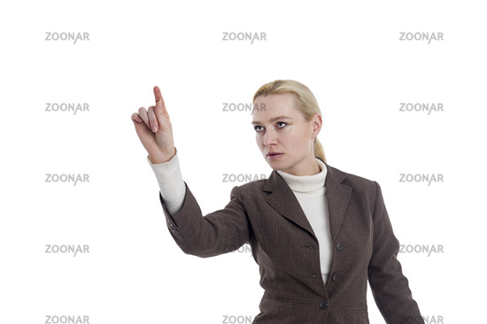Business woman pointing to the left