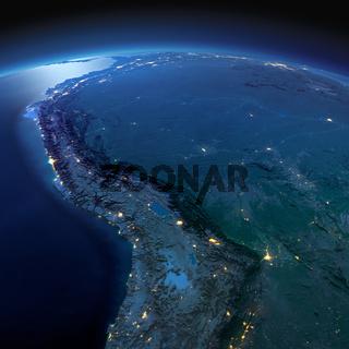 Detailed Earth. Bolivia, Peru, Brazil on a moonlit night