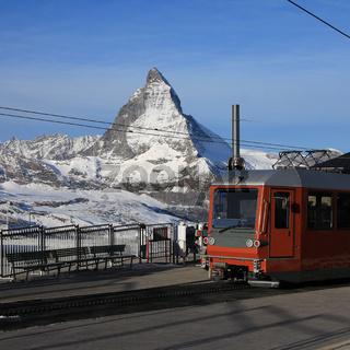 Railway station on the Gornergrat and Matterhorn