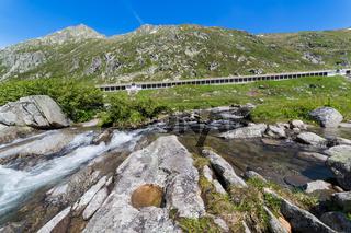 Historic Gotthard pass road, Alps, Switzerland