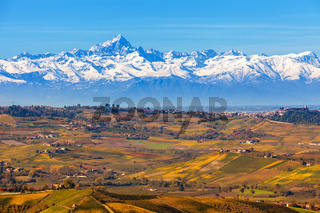 Autumnal hills and mountains in Italy.