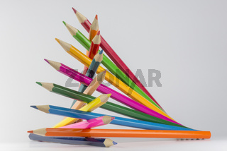 Abstract composition of a set wooden colour pencils