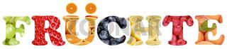 Wort Früchte mit Apfel, Orange, Zitrone und Erdbeere Frucht