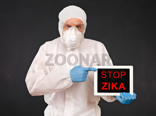 Researcher Holds Tablet with ZIKA Virus Sign