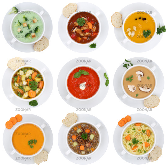 Collage Soup Soups Tomato soup Vegetable soup Vegetable soup Cutting out from above