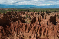 Overview Red sand stone formation of hot dry Tatacoa desert in Huila,