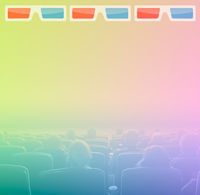 viewers in 3D movie theater, RGB toning
