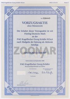 Aktie der Firma FAG Kugelfischer