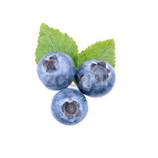 Ripe blueberries and leaves on white background