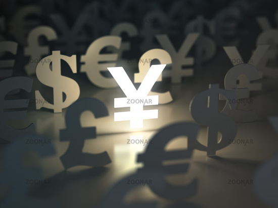 Yen, dollar, euro, and pound  signs. Currency exchange concept.
