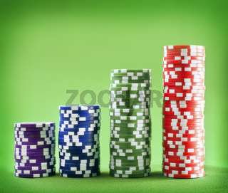 Chips for poker on the green background