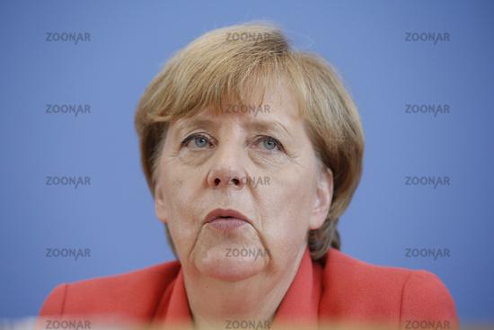 Merkel at Federal press conference in Berlin.