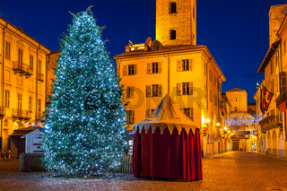 Illuminated Christmas tree on town square at evening in Alba