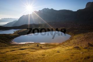 Lago dei Piani at sunny morning