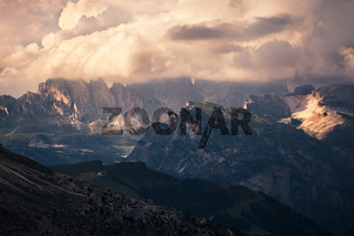 Panoramic view of mountain sunset