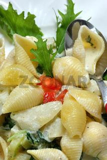 Conchiglie mit Kohlrabi und Mizuna Sauce