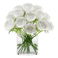 bouquet of roses in glass vase isolated on white background