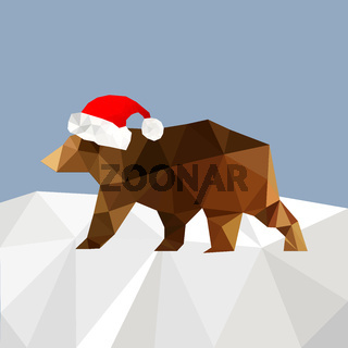 Christmas background with bear wearing santa hat