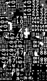 Muster aus weißen Ziffern auf schwarzem Grund