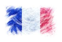 France flag blackboard chalk erased isolated