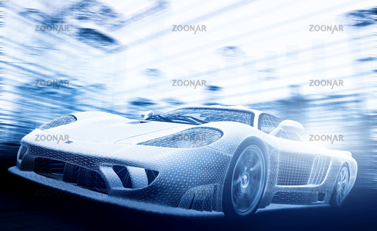 Concept car model in blueprint, wireframe. Technology and ecology - the future of the industry.