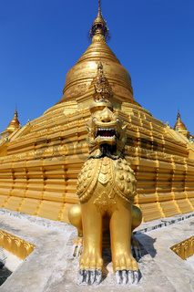 Golden pagoda in Kuthodaw temple in Mandalay