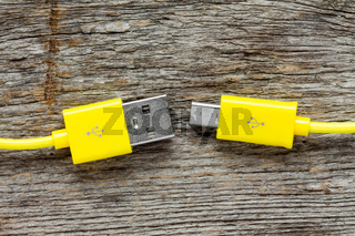 Yellow USB cable close-up