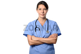 Krankenschwester oder Ärztin blickt in die Kamera