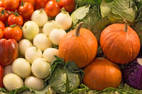 Pumpkins and vegetables