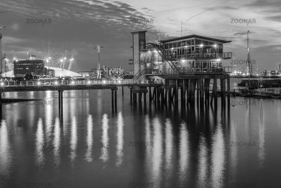 Greenwich Yacht Club on River Thames at night, London, United Kingdom