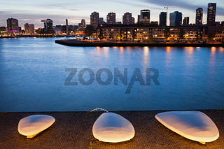 City of Rotterdam Skyline at Twilight in Netherlands