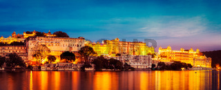 Udaipur City Palace in the evening panoramic view. Udaipur, Indi
