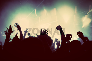 People with hands up having fun on a music concert