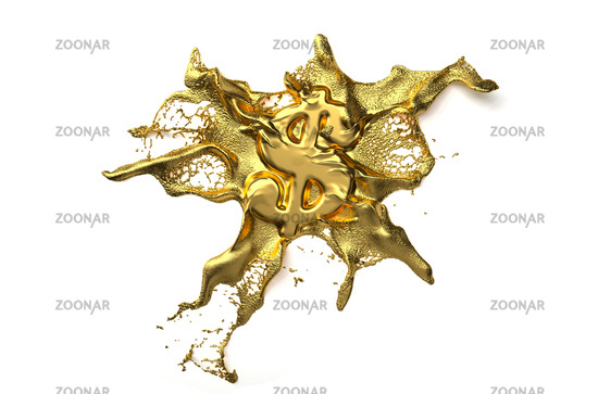 dollar symbol melts into liquid gold. path included