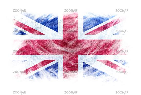 UK flag blackboard chalk erased isolated